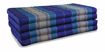 Blaue Faltmatratze Klappmatratze aus Kapok