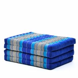 Blaue Klappmatratze aus Kapok vom Hersteller Leewadee